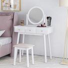 Huicheng Weiß Schminktisch mit Spiegel und Hocker (Kunstleder), Frisiertisch Set Schreibtisch mit 3 Schubladen und abnehmbar Spiegelaufsatz, Kosmetiktisch Set für Damen Mädchen