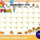 September Calendar INSTANT DOWNLOAD | Monthly Planner Digital Calendar | Kid Monthly Calendar Printable | Organization for Kids PDF Calendar
