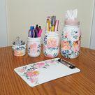 Pink Floral Mason Jar Desk Set, Decoupage Jar, Office Desk Organizer, Desk Office Decor, Office Desk Accessories, Office Supplies, Gift
