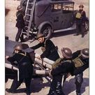 30cm Photo. Auxiliary Fire Service (A.F.S.) Men hauling the