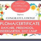 Certificate DIPLOMA for PRESCHOOL , KINDERGARTEN:  for use in home / homeschool / daycare / child care / early childhood programs