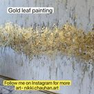 Gold leaf painting, white gold abstract painting, modern acrylic abstract art