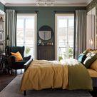 Traumhaft grün-gelbes Schlafzimmer
