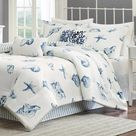 Beach House Seashell Print Cotton Comforter Set - Full