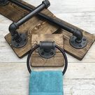 DARK WALNUT Rustic Bathroom Set, Industrial Pipe Set, Full Bathroom Accessories, Rustic Decor, Industrial Bathroom,Farmhouse, Unique Set