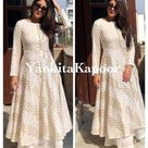 Indian Traditional Kurti Palazzo Flared Anarkali Gown Designer Bollywood Style Kurti New White Color Gown Kurti Palazzo Set