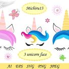 3 Cute unicorn face with closed eyes and different horns (951556) | Illustrations | Design Bundles