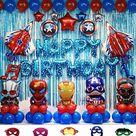 70pcs Superhero Party Decoration kit Superhero Balloons Avengers Balloons including balloons foil backdrop and air pump - Default