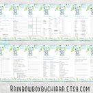 Elephant Baby Shower Game Package, Blue Floral Elephant Shower Game,  Baby Shower Activity,  Printable Baby Shower Game, Boy Shower Theme
