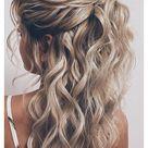 bridesmaid hair half up curly natural