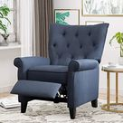 Push Back Recliner Chair, Tufted Fabric Accent Chair, Lazy Boy Arm Chair with Footrest Adjustable Comfy Lounge Gaming Reclining Chair for Living Room Bedroom, Navy
