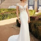 Style 44237 Off the Shoulder Crepe Fit and Flare Wedding Dress   Sincerity Bridal