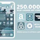 App Icons Blue Lagoon iOS 14   Blue Tones Scheme Colors, Sky Blue, Teal   iPhone Home Screen   Widget Quotes   Widgetsmith