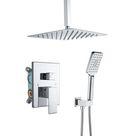 Minnan Brand Luxury Rain Mixer Shower Combo Set Wall w/ Rough-In Valve, Matte Black Green 100.0 x 12.0 in | Minnan-ZUG-98105-12CP | Wayfair Canada
