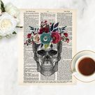 anatomy art prints   skull with watercolor flowers print   dictionary art   blue and merlot wine watercolor flowers