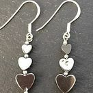 Beautiful Natural Haematite And 925 Sterling Silver Drop Earrings