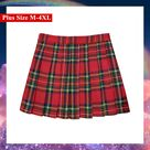[Plus Size M-4XL] 40/50 CM Red Grid Stretchy Pleated Skirt C00348