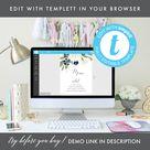 Printable Wedding Menu, Table Setting Menu, Reception Menu, White and Navy Floral, Menu Template, Instant Download