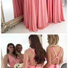 Long Chiffon Plus Size Bridesmaid Dresses Backless Light Coral Bridesmaid Dresses ARD1162