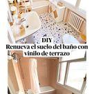 DIY Renueva el suelo del baño con vinilo de terrazo