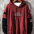 Red label pattern shoulder cut out hoodies