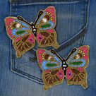 1 Pair Butterfly Patches Beaded Embroidery Sew on Denim Patch Decorative Embroidery Handcrafted Appliques Crafting Sewing Clothing Accessory
