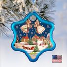Nativity Ornament - Peaceful City Glass Ornament Holiday Splendor by G. DeBrekht 754-086