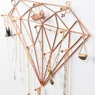 Amazon.com: Ruby Mae Jewelry Wall Organizer   Diamond Rose Gold Jewelry Organizer for Necklaces, Bracelets, Earrings, Rings   Necklace Organizer with Large Jewelry Hooks   Hanging Jewelry Organizer Wall Mounted : Home & Kitchen
