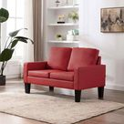 vidaXL Sofa 2 Sitzer Rot Kunstleder Loungesofa Polstersofa Wohnzimmersofa