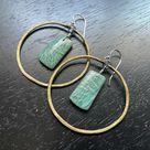 NEW! AMAZONITE Circles: Medium Brass Hoops, Rectangular Stones