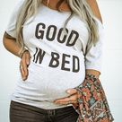 Good In Bed, Good In Bed Maternity Top, Pregnancy Top, Funny Maternity Tank, Cute Maternity Top, Pinterest Pregnancy Announcement, Bump Tee