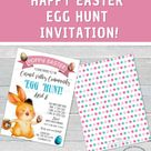 EASTER EGG HUNT FESTIVAL FLYER, EDITABLE HAPPY EASTER EGG INVITATION, SPRING PRINTABLE SCHOOL EASTER