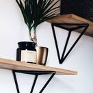 Wall Shelf, Handgemaakte houten plank van massief eiken wordt geleverd met twee metalen plank beugels