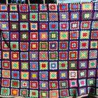 Vintage Crochet Afghan Squares Navy Bright Colors Wool Handmade Antique Colcha De Croche Colchas E Artesanato