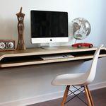 Minimalist Wooden Float Wall Desk For Imac With Storage Hausburo