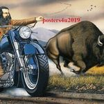 Reprint For Ghost Rider David Mann Motorcycle Art Fabric Poster Print Multi