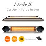 Incalzitor Terasa Veito Blade S 2 5kw Fibra Carbon Aluminiu Telecomanda 4 Trepte Afisaj Led Buton Touch Ip55 Argintiu Design Modern Tavan