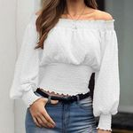 Mint Green Dagget Sleeve White Crochet Applique Boho Peasant 137 mv Dress S M L