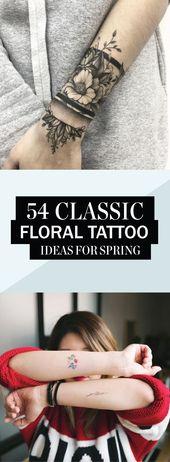 54 klassische florale Tattoo-Ideen für den Frühling – Tatowierungen