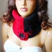 Knitted Black And Red Neckwarmer, Chunky Scarf, Cowl, Flower And Button, Black Red scarf ,Winter Accessories