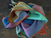 Color Pops! Tencel & Silk Scarf / Turquoise Weft/ Handwoven