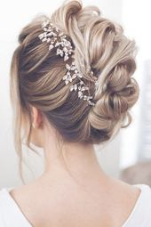 wedding hairstyles for medium hair updo textural waves with bark leaves on blond... , #blond #hairstyles #leaves #medium #textural