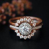 Anillo de compromiso de diamantes con anillo reforzado. Juego de anillos de boda. Anillo de diamantes halo. Diamond Ring Guard. Conjunto de anillo de novia eduardiano de oro de 14 k   – Fashion