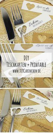 DIY-plaatskaarten maken eenvoudig zelf + gratis sjablonen – bruiloft   – DIY Karten basteln