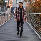 40 mens winter work outfit styles with winter boots. Checked shirt, black t-shirt, ripped jeans, work boots 1. Click image to view more.  #men #outfit...