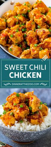 Receta de pollo con chile dulce | Pollo tailandés | Pollo asiático # pollo # comida salada #ch …   – Food: Chicken