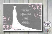 Bröllopsklänning Bridal Shower Inbjudan
