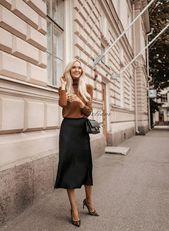 Seide Rock Midi langen Herbst Aussehen noir a-Linie Rock Outfit Seide Slip Bias noir de la rue Style de rue tamisé Seide Herbst Tendances lange Frauen Rock   – Skirts