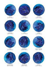 Sternbild Sternzeichen, Horoskop, Aquarell, Aquarell, modern, im – Art