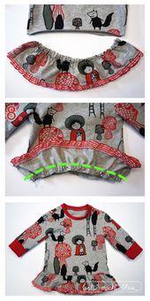 Guide de couture: Robe pour bébé (variante pull bébé) | bel fait du bleu   – Nähen Baby